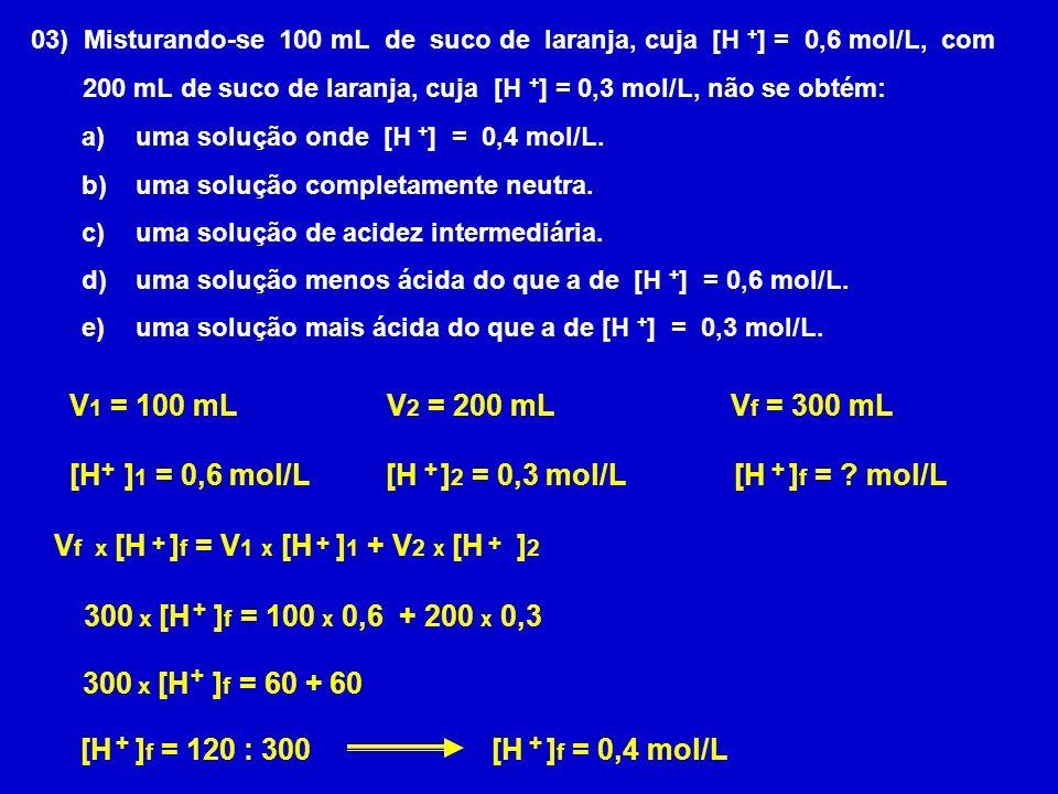V1 = 100 mL V2 = 200 mL Vf = 300 mL [H ]1 = 0,6 mol/L